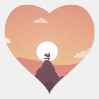 Design art hill hut landscape heart sticker