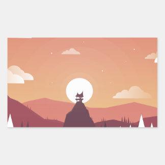 Design art hill hut landscape rectangular sticker
