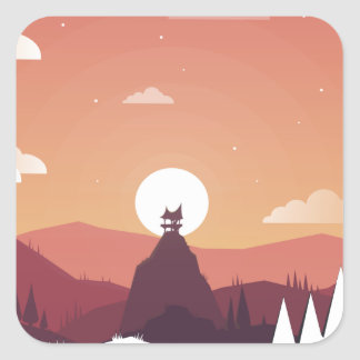 Design art hill hut landscape square sticker