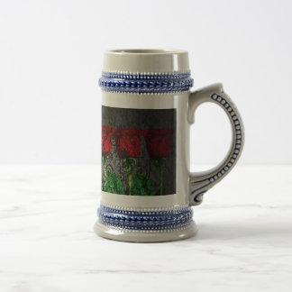 design art red green rose beer stein