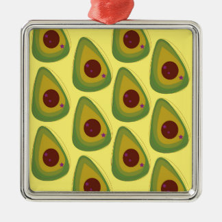 Design avocados on gold metal ornament