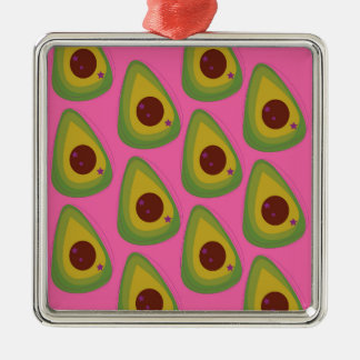 Design avocados on pink metal ornament