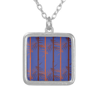 Design bamboo blue silver plated necklace