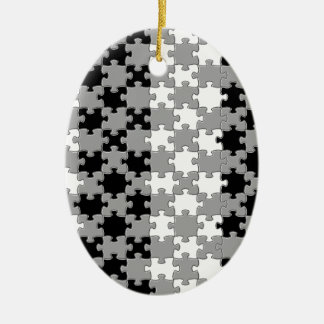 Design - Black & White Ceramic Oval Decoration