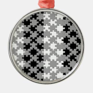 Design - Black & White Silver-Colored Round Decoration