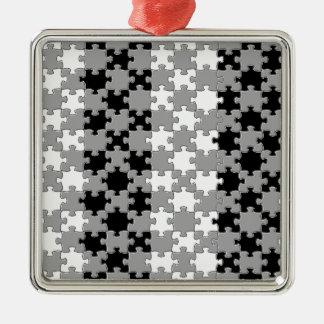 Design - Black & White Silver-Colored Square Decoration