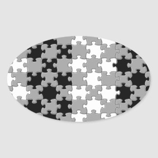 Design - Black & White Oval Sticker