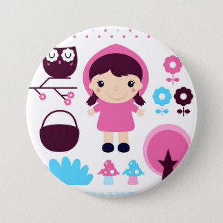 Design button with pink riding hood