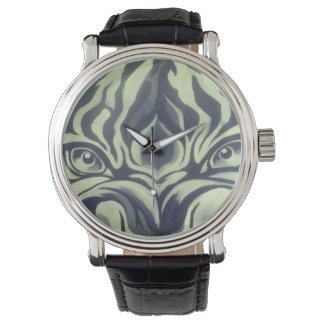 DESIGN BY FRANK MOTHE.Black Vintage Leather WATCH