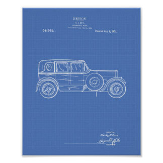 Design Car Body 1921 Patent Art - Blueprint Poster