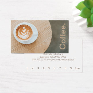 Design Coffee on Round Table Simple Loyalty Coffee Business Card