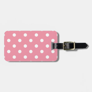 Design dots white on pink sweet luggage tag