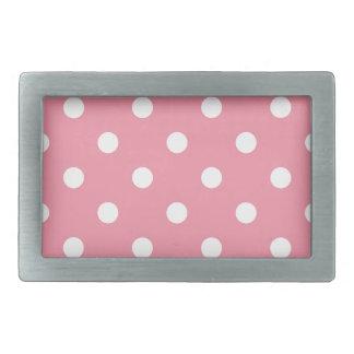 Design dots white on pink sweet rectangular belt buckles