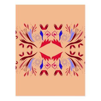 Design elements beige Ethno  Red Postcard