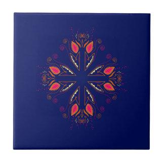 Design elements blue  FOLK Ceramic Tile