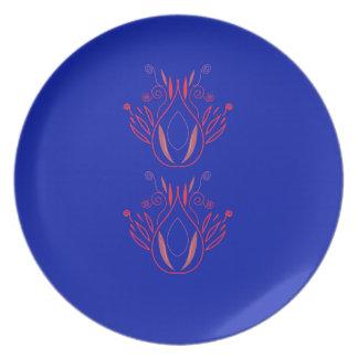 Design elements blue  Folk Plate