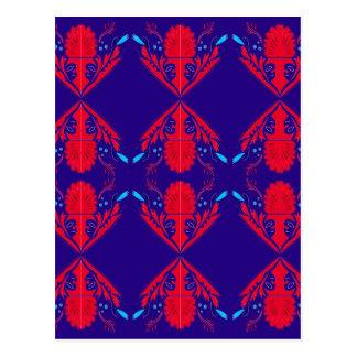 Design elements blue  red Ethno Postcard