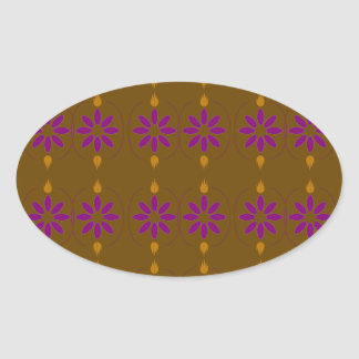 Design elements brown  folk oval sticker