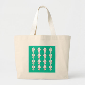 Design elements cyan Ethno with white Large Tote Bag