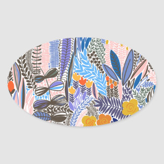 Design elements  Flowers ethno  Folk Oval Sticker