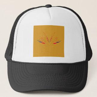 Design elements on gold trucker hat