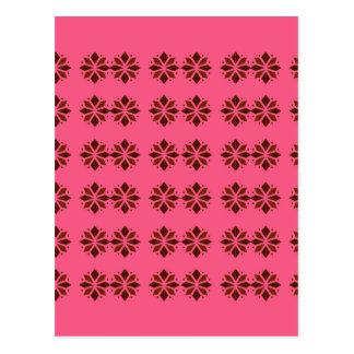 Design elements on pink postcard