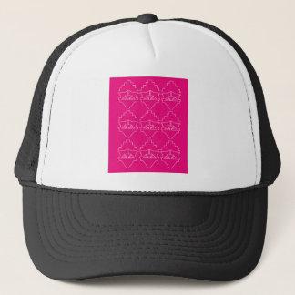 Design elements on pink trucker hat