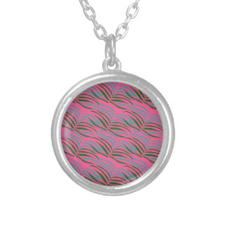 Design elements pink leaves exotic silver plated necklace