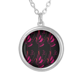 Design elements pink on black silver plated necklace