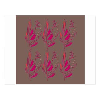 Design elements pink  red ethno postcard