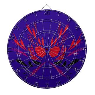 Design elements  red on blue ethno dartboard