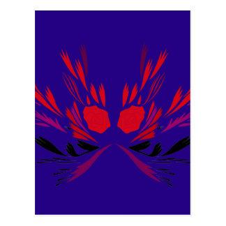 Design elements  red on blue ethno postcard