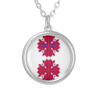Design elements  Red on white Silver Plated Necklace