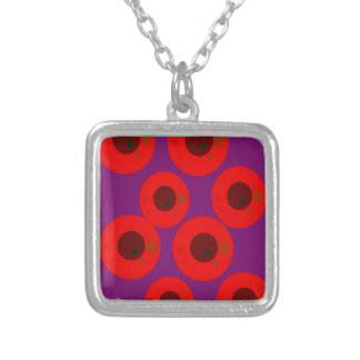 Design ethnic plums wild  Red Purple Silver Plated Necklace