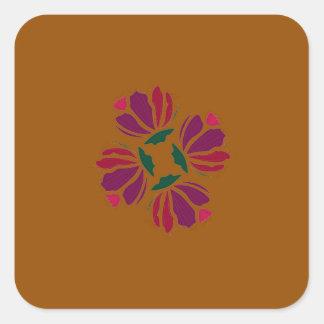 Design ethno with clay square sticker