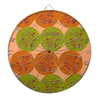 Design exotic lemons on gold dartboard