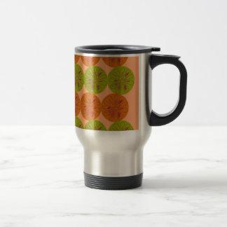 Design exotic lemons on gold travel mug