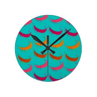 Design exotic slices Bananas Blue Round Clock