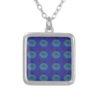 Design  flowers blue silver plated necklace