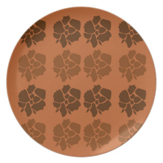 Design  flowers ethno brown plate