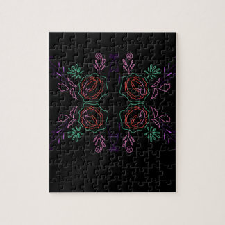 Design folk mandala on black jigsaw puzzle