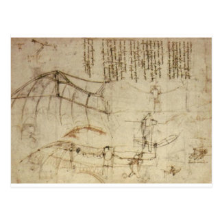Design for a Flying Machine by Leonardo Da Vinci Postcard