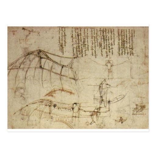 Design for a Flying Machine by Leonardo Da Vinci Post Card
