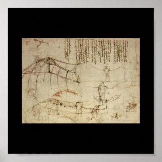 Design for a Flying Machine by Leonardo Da Vinci Poster