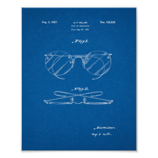 Design For A Pair Of Spectacles Patent - Blueprint Poster