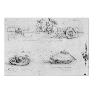 Design for a scythed chariot and armoured car poster