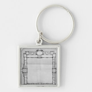 Design for the eastern buildings of the Louvre Silver-Colored Square Key Ring