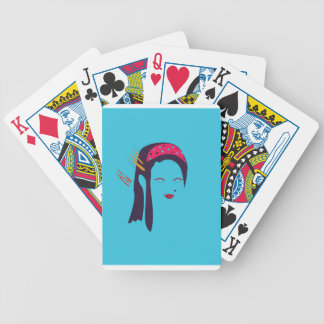 Design Geisha on blue Bicycle Playing Cards