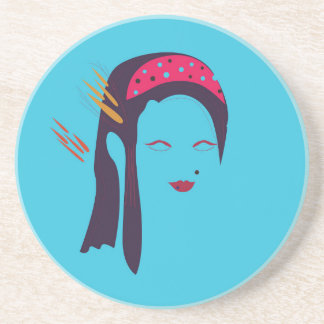 Design Geisha on blue Coaster