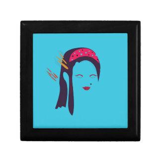 Design Geisha on blue Gift Box
